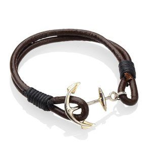 😀 Genuine Leather Ships Anchor Clasp Bracelet